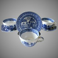 Final Markdown - Buffalo Pottery Blue Willow Cups and Saucers, Set of 4