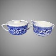 Vintage Blue Willow Creamer and Sugar Set