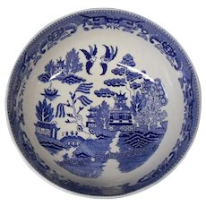 Vintage Extra Large Japanese Blue Willow Bowl