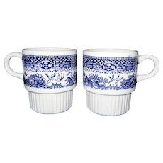 Unique Blue Willow Mugs, Signed USA, Set of 2