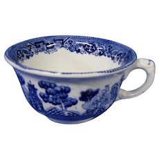 Final Markdown - Old Buffalo Pottery Blue Willow Cup, Early 1900's