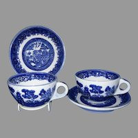 Shenango Blue Willow Restaurant Ware Cups and Saucers, Set of 2