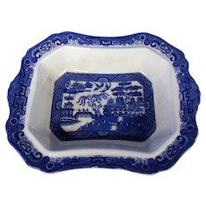 Allerton Blue Willow Rectangular Serving or Vegetable Dish ~ Blue and White Pattern