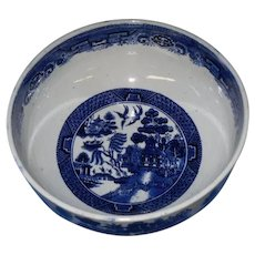 Early Large Blue Willow Bowl ~ Blue and White Willow Pattern ~ Late 1800's