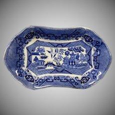 Buffalo Pottery Blue Willow Small Tray ~ Early 1900's