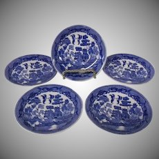 Japanese Blue Willow Demitasse or Child's Set of 5 Saucers