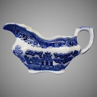 Early Buffalo Pottery Blue Willow Gravy Boat or Server