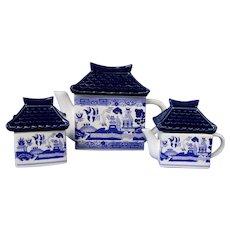 Rare Blue Willow Japanese Pagoda 3 Piece Tea Set, Teapot Creamer and Sugar