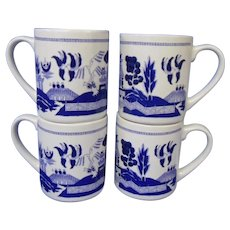 Final Markdown - Vintage Blue Willow Set of Four Heavy Mugs