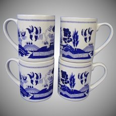 Vintage Blue Willow Set of Four Heavy Mugs