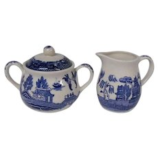 Japanese Blue Willow Creamer and Lidded Sugar Bowl Set