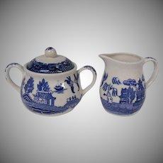 Japanese Blue Willow Creamer and Lidded Sugar Bowl Set