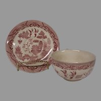 Vintage Texas Size Pink Willow Cup and Saucer Set, Made in Japan