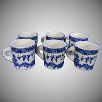 Japanese Blue Willow Farmers' Mugs Set of 6, Early 20th Century