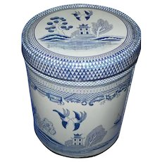 Vintage Blue Willow Tin Canister, Cracker Tin, Marked