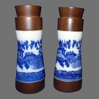 Japanese Blue Willow Salt and Pepper Shakers, Wood and Porcelain