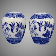 Chubby Japanese Blue Willow Salt and Pepper Shakers