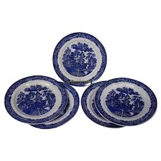 Early English Blue Willow Ironstone Plates, Set of 5, C. Allerton & Sons