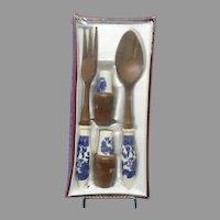 Vintage Blue Willow Hostess Set, Salt and Pepper, Salad Servers Fork and Spoon