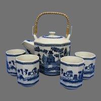 Vintage Japanese Blue Willow Saki Set, Octagon Teapot and 4 Cups