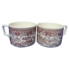 Vintage Red Willow Earthenware Coffee Cups, Set of 2, Royal China Co.