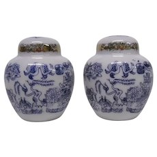 Japanese Blue Willow Mini Salt and Pepper Shakers Set, Blue & White with Fired Gold, Enesco