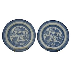 "Set of 2 Vintage Blue Willow 9"" Dinner Plates, Canton Pattern, Wood & Sons of England"