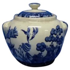 Buffalo Pottery Blue Willow Sugar Bowl with Lid, Early 1900's