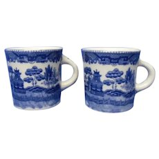 Vintage Blue Willow Farmers Mugs, Set of 2 Heavy Blue and White Mugs