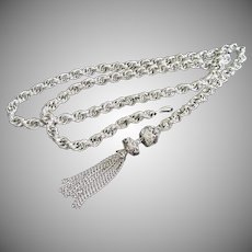Silver Tone Vintage Chain Belt, Long Necklace or Lariat Style Necklace