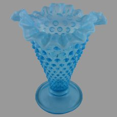 Fenton Blue Opalescent Hobnail Vase