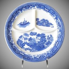 Blue Willow Divided Grill Plate, Heavy Restaurant Ware, 3 Available