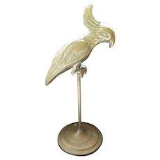 Vintage Brass Cockatoo on Pedestal, Bird Figurine