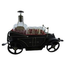 Vintage Whiskey Decanter Set Music Box, Model T Car Plays How Dry I Am