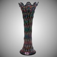 Early Fenton Cobalt Blue Carnival Glass Vase in the Rustic Pattern ~ REDUCED!