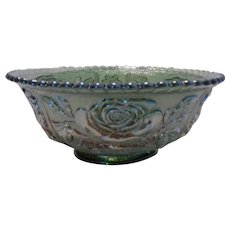 Imperial Green Open Lustre Carnival Glass Bowl ~ REDUCED!