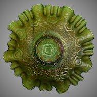 Fenton Emerald Green Carnival Glass Ruffled Bowl