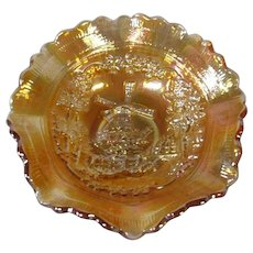 Marigold Carnival Glass Bowl, Imperial Glass Co, Windmill Pattern