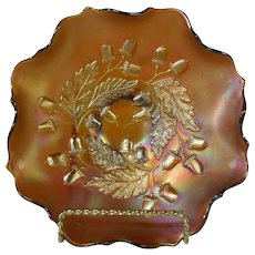 Rare 1920's Fenton Amber Carnival Glass Ruffled Bowl in Acorn Pattern