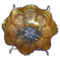 Fenton Peacock and Grapes 3 Footed Carnival Glass Bowl in Marigold