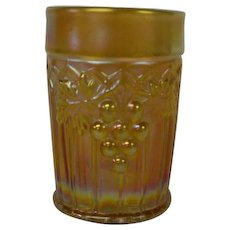 Northwood Carnival Glass Grapes and Gothic Arches Tumbler in Marigold