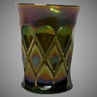 Emerald Green Carnival Glass Tumbler, Early 1900's, Millersburg Co.