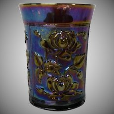 Imperial Glass Amethyst Carnival Glass Tumbler in Lustre Rose Pattern