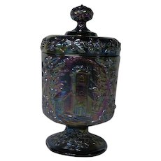 Fenton Amethyst Carnival Glass Lidded Candy Dish ~ The Little Brown Church in the Vale
