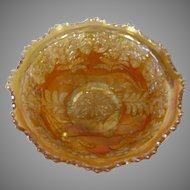 Fenton Marigold Carnival Glass Small Bowl in Panther Pattern