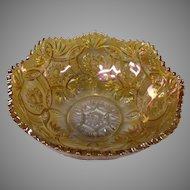 Final Markdown - Imperial Glass Marigold Carnival Glass Bowl in Crab Claw Pattern