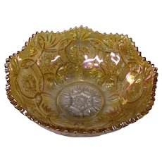Imperial Glass Marigold Carnival Glass Bowl in Crab Claw Pattern