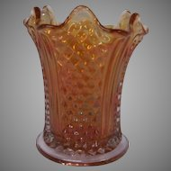 Imperial Glass Vintage Carnival Glass Spooner Vase in Marigold ~ Diamond Point and Columns Pattern