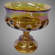 Final Markdown - Indiana Glass Amber Carnival Glass Compote Dish