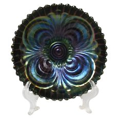 Imperial Deep Amethyst Scroll Embossed Carnival Glass Bowl